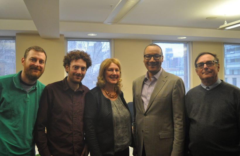Lecture sponsor Ellen Roseman with her family and speaker Tommie Shelby.